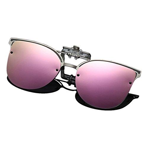 Yefree Polarisierte Clip-on Flip-up Cat Eye Sonnenbrille Metallrahmen Sonnenbrille