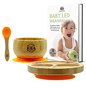 Bubba Bear™ Baby Toddler Suction Bowl, Plate & Spoon Set - Free Bubba Bear Guide to Weaning eBook - Eco Friendly & Made with Natural Bamboo - Stay Put Bowl & Plate for Feeding (Orange)