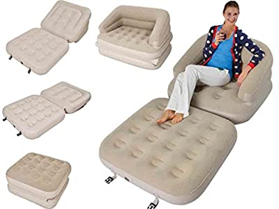 5 IN 1 Inflatable Single Flocked Sofa Couch Bed Mattress Lounger Airbed Bed Beige