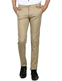 AD & AV MENS CASUAL TROUSER (325_MENS_CHEX_KHAKI_TROUSER_AA)-CREAM