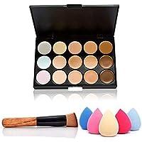 Isuper Belleza 15 colores de maquillaje Concealer Crema Contorno Kit mancha de la cara Contorno de resaltado paleta con un pincel y una esponja