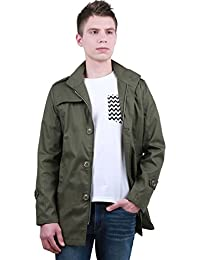 Allegra K Men Zip Closure Long Sleeve Pockets Design Trench Coat Army Green L