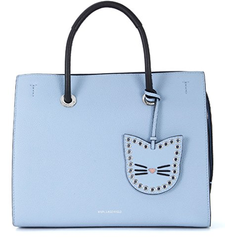 Borsa a mano Karl Lagerfeld Karry All in pelle azzurra