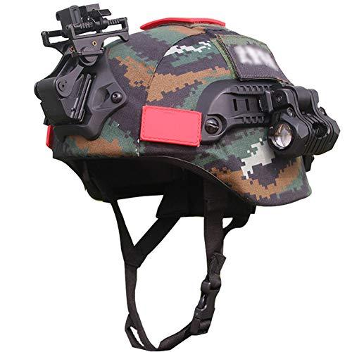 WTZWY Casco táctico Airsoft Paintball Mich 2000, con riel Lateral y Cubierta de Casco con Montaje NVG Linterna Clip de Linterna Soporte de Gafas de visión Nocturna Conjunto