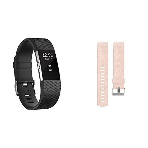 Fitbit Charge 2 Unisex schwarz, S + Wechselarmband Leder rosa, S