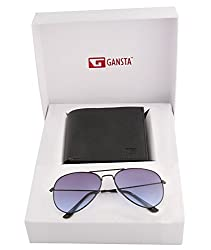 Gansta mens gift set of blue lens aviator sunglasses & bi-fold black wallet