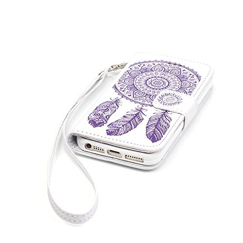 Nutbro iPhone 5S Case,iPhone 5 Case,Flip Wallet Pu Leather Case Stand Cover with Credit Card Slots Case for iPhone 5S/SE White/Purple Flower