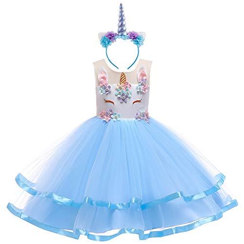 (IWEMEK Mädchen Einhorn Kostüm Geburtstag Kleid Kleinkind Ärmellose Tüll Tutu Prinzessin Kleid Hochzeit Festzug Halloween Weihnachten Geschenk Baby Kinder Kostüm Dress Up Cosplay Blau 9-10 Jahre)
