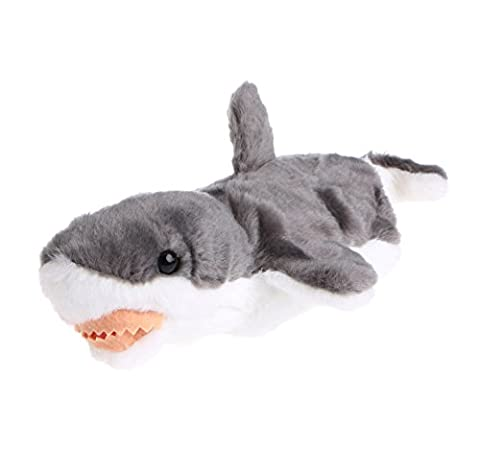 HNDHUI Shark Hand Finger Puppet Toys Cartoon Animal Plush Doll Gift For Baby Kids (Gris)