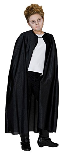 Vampirumhang Vampir Umhang Kostüm Dracula für Kinder schwarz lang ohne Kragen Gr. 116, 128, 140, 152, 164, Größe:128