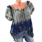 MOIKA Damen T-Shirt, Spitze Gedruckte Kurzarm V-Ausschnitt Tops Lose T-Shirt Bluse Blumen Frauen Oberteile Tees Shirt