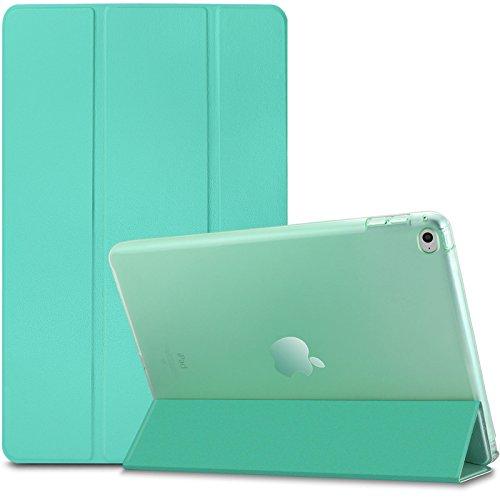 iPad Air 2 / iPad 6 Hülle, Infiland Ultra Dünn Tri-Fold Smart-Muschel PU Leder Ultra Schlank Superleicht Ständer Smart Shell Cover Schutzhülle Etui Tasche für Apple iPad Air 2 (2014 Modell)/ iPad 6(mit Auto Schlaf / Wach Funktion)(Minze Grün)