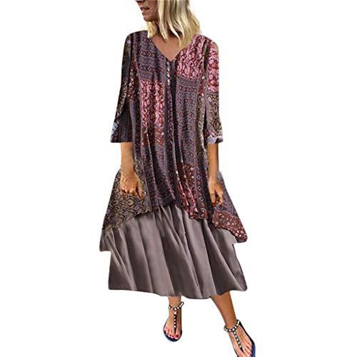 IZHH Damen Mode V-Ausschnittv Lange Ärmel Leinenkleid Sommer Plus Größe Komfortable Kleider Große Größen Festlich Burlesque Kostüm Faltenrock(rot,XXXXL)