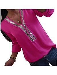 Kuncg Blusa Mujer Manga Larga con Lentejuelas Camisas Elegante Shirts Color Sólido Camisetas Cuello V Pullover