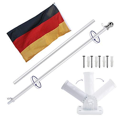Display4top Alu Fahnenmast 1.8m, Mit Einstellbarer 180 Grad Wandhalterung + 1 STÜCK Flagge (German Flag)