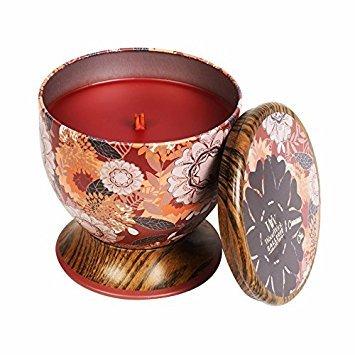 Woodwick Zimt Chai Dekorative Duftkerze in der Blechdose mit Blumenmotiv, 240.9 g, Glas,...