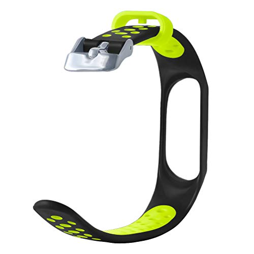 YBWZH Replacement Ventilate Sport Soft Wrist Strap Wristband for Xiaomi Mi Band 3 Ersatz Uhrenarmbänd Strap Weiches Silikon Sportarmband Erstatzband(Grün)