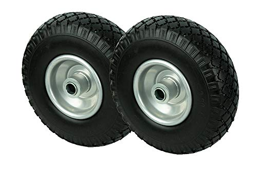 PU Rad 260 mm - Pannensicher je 130 Kg Traglast, Metallfelge 3.00-4 (Schwarz, 2 Stück) -