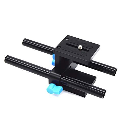 Uonlytech Rail Rod Support System DSLR-Kamera Grundplatte Führungshalterung für Follow Focus Matte Box 15mm (Schwarz) - Matte Box Rod Support