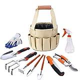 YA-Uzeun Kit d'outils de Jardinage 10 pièces avec têtes en Fonte d'aluminium