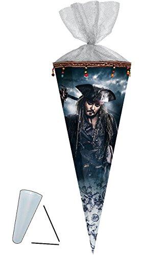 alles-meine.de GmbH Schultüte -  Fluch der Karibik - Piraten  - 70 cm - Filzabschluß - Zuckertüte - Nestler - mit / ohne Kunststoff Spitze - für Jungen - Pirat Captain Jack Spa.. (Hats Jack Sparrow)