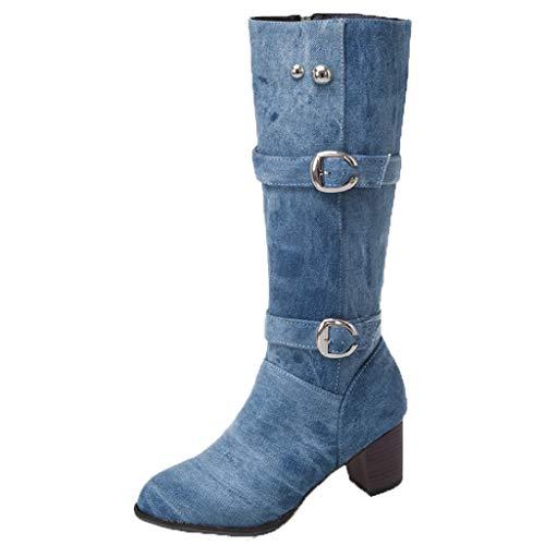 feiXIANG Damen Stiefel Square Heel Long Tube Boots Fashion Denim Schuhe Warm Langschaftstiefel Winterschuhe High Heels(Hellblau,40)