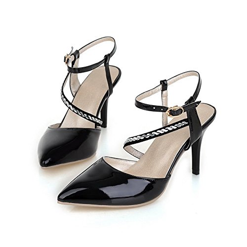 balamasa Mesdames Diamant en verre Fashion Cuir Verni pumps-shoes Noir