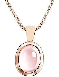 MYA art Damen Halskette Kette 925 Sterling Silber Oval Platte Anhänger mit  Rosa Opal Stein Perle 33385983c4