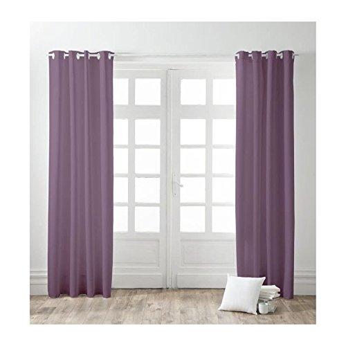 FINLANDEK Lot de 2 rideaux a oeillets 100% coton Kauha 140x240 cm figue