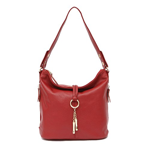 Artone Damen Echtes Leder Ring Tragetasche Handtasche Schultertaschen 2 Weg Rot (Tote Leder Tasche Zwei)