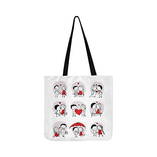 Paar in Liebe zusammen Valentine Canvas Tote Handtasche Schultertasche Crossbody Taschen Geldbörsen für Männer und Frauen Einkaufstasche