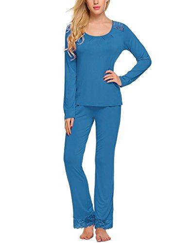 HOTOUCH Damen Schlafanzug Pyjamas Set Langarm Nachtwäsche
