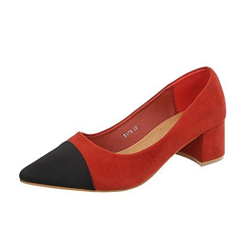 Ital-Design Klassische Pumps Damen-Schuhe Pump Moderne Rot, Gr 39, 5179-