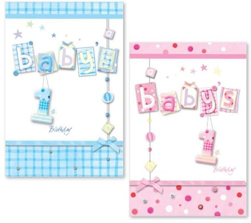 Baby's 1st Birthday Card - Pink
