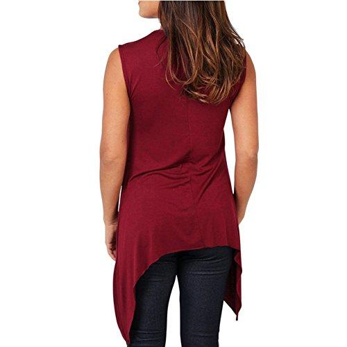 Yalatan Women T-shirt O Neck Sleeveless Casual Tank Top Plus Size Loose Tee Red