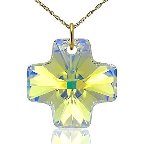 Collana croce in oro massiccio 9e cristalli Swarovski Canarie