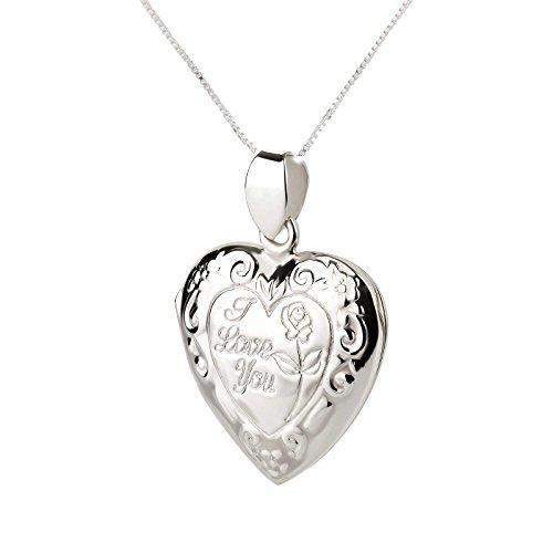 SL-Silver Set aus Kette und Anhänger Medallion Herz I love You 925 Silber in Geschenkverpackung (Silver-medallion-anhänger)