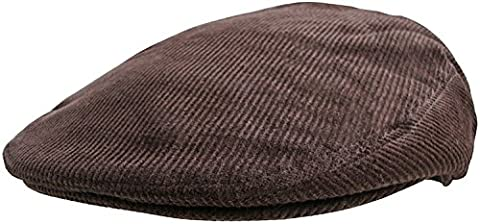 Mens Corduroy Flat Caps Traditional Peaked Newsboy Hat Country style Cord Cap (57cm, Brown)