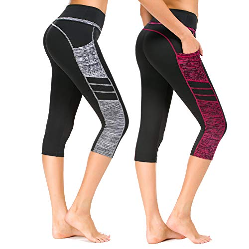 Munvot Damen Sporthose Sport leggings Tights, B2073 / 2er Pack (0310+0308), XS (DE34-36)