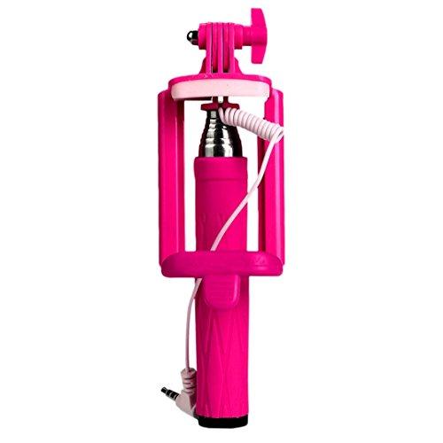 Fulltime® Compact Feder-Größe leicht gewichtet rostfreiem Selfie-Stange für iPhone 6/S/Plus Teleskop Erweiterbar Pole Handheld Einbeinstativ mit Telefon-Clip und Auslöser für Apple/Samsung/LG/HTC/XIAOMI/Huawei/iOS/Android-Handy,85g,15,5cm-63cm (Pink)