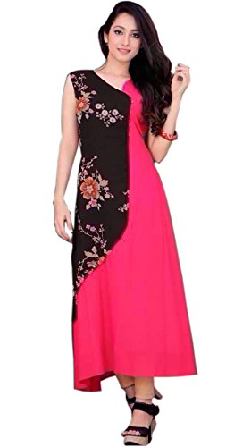 Vipul Bollywood Designer Women\'s Branded PINK & BLACK Casual Wear Printed Georgette XL Size Kurti ( Best Gift For Mummy Mom Wife Girl Friend, Exclusive Offers and Sale Discount )