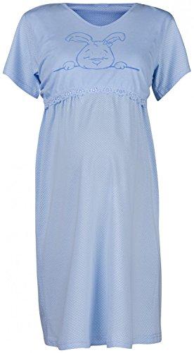 Happy Mama Femme Maternité chemise nuit. Nuisette grossesse et allaitement. 139p Bleu