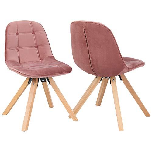 Duhome 2er Set Esszimmerstuhl Stoff Samt Rosa Pink Farbauswah Polsterstuhl Retro Design Stuhl mit Rückenlehne Holzbeine 466