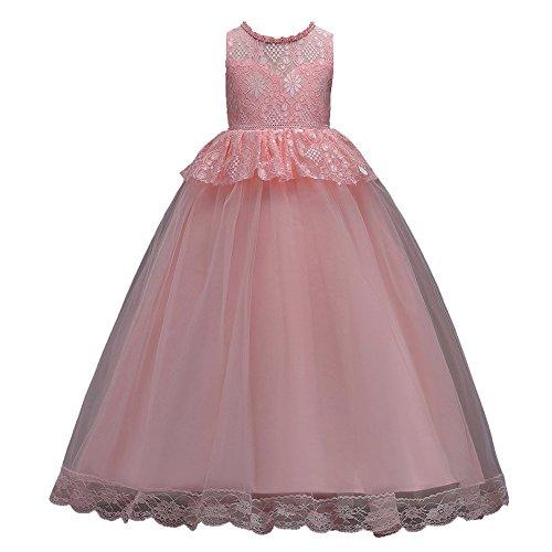 Classic Kostüm Rosa Women's Prinzessin - Livoral Mädchen Hochzeitskleid Partykleid Kleinkind Kind mädchen Hochzeit Blume Kleid Spitze Prinzessin Party formelle Kleidung Kleidung(Rosa,140)