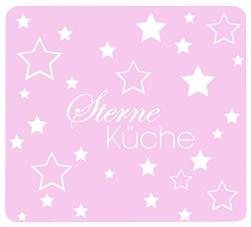 Wenko Multi-Platte Sterneküche Rosa für Glaskeramik Kochfelder, Schneidbrett, Gehärtetes Glas, 56 x 50 x 0.5 cm