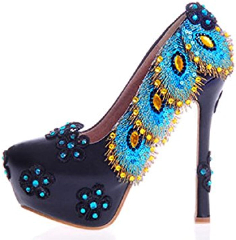 Kitzen SeñOras Corte Zapatos Rhinestones Flores Azul Negro Joya Diamante Vestido De Novia De Novia De Novia Zapatos... -