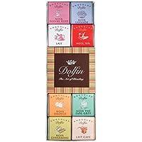Dolfin Surtido de 24 Carre de chocolate con leche y chocolate negro con sabor a pimienta rosa, lavanda, 70% de cacao, 38% de cacao, turrón, té Earl Grey, jengibre, café - 1 x 108 gramos