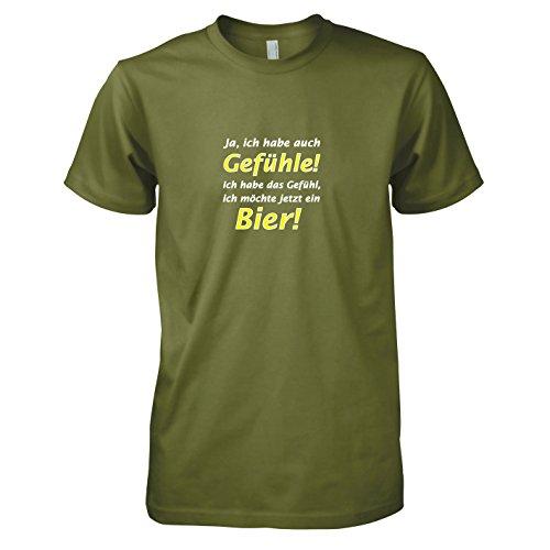 TEXLAB - Bier Gefühl - Herren T-Shirt Oliv