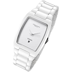 Cirros Milan Luxury Unisex White Ceramic Watch with Date. Model 2296GW