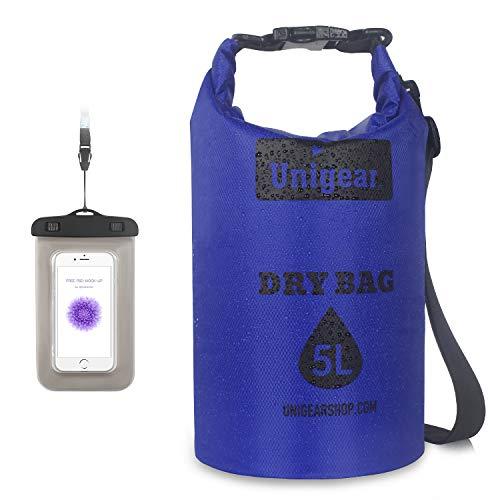 Unigear Dry Bag, Dünn&Leichte Version, 2L/5L/10L/20L wasserdichte Tasche Trockensack Seesack Trockentasche, mit wasserdichte Handytasche, für Boot Kajak Angeln und Rafting, MEHRWEG